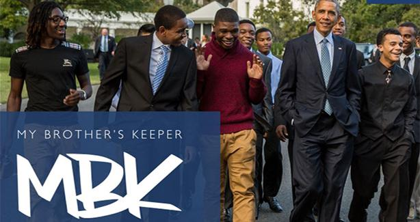Picture of President Obama marching with My Brother's Keeper